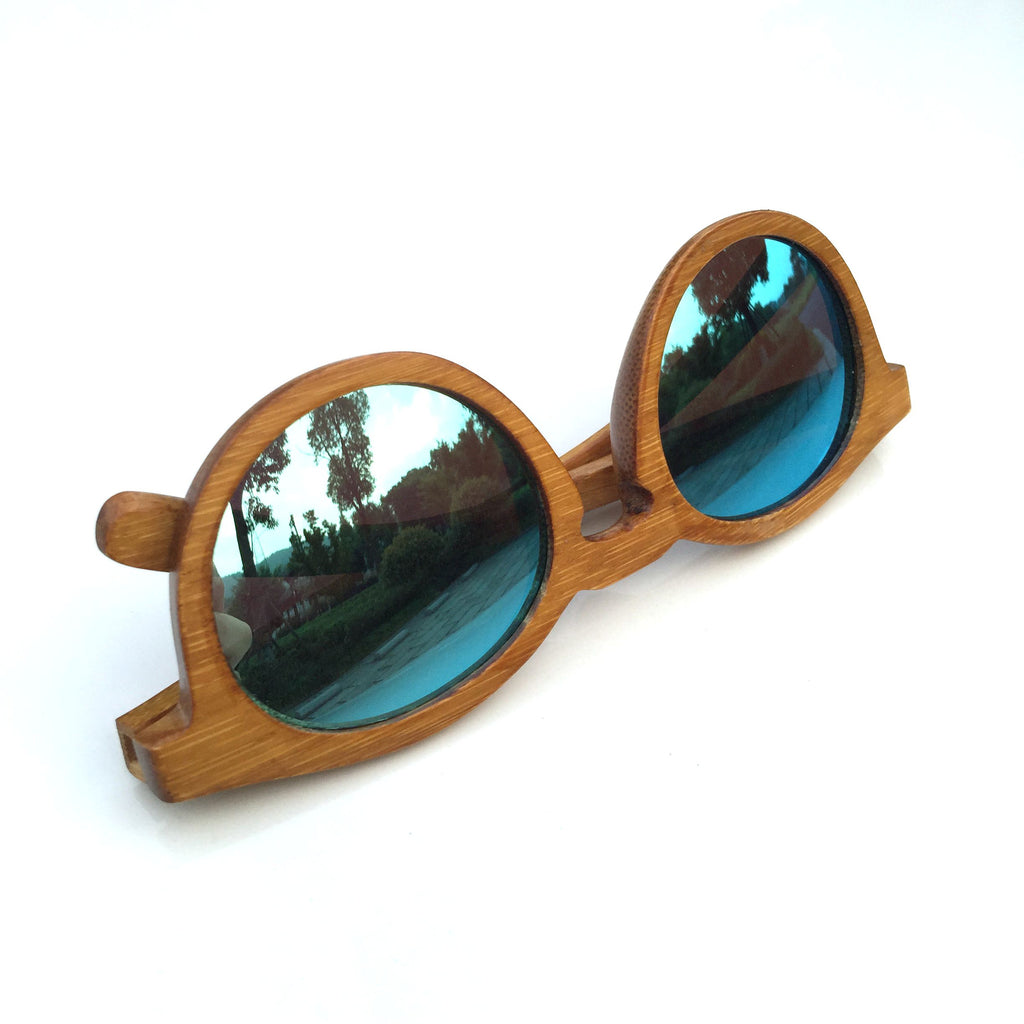 Unique Blue Cat Eye Handmade Bamboo Sunglasses Shades Sunnies Goggles - WowAwesomeStuff  - 6