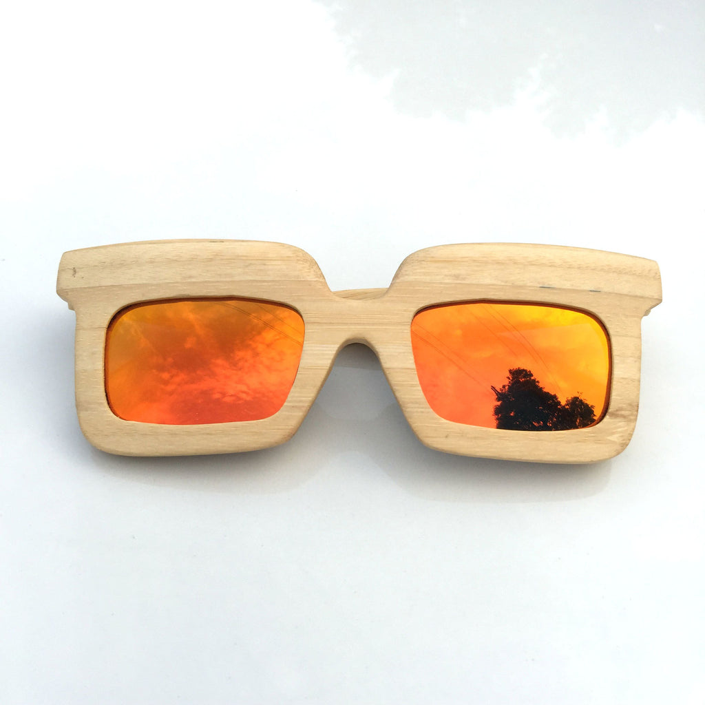 Orange Unique Wood Handmade Sunglasses Shades Sunnies - WowAwesomeStuff  - 2