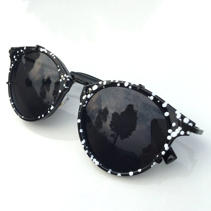 2016 Brand New Black Handmade Steampunk Pilot Sunglasses Shades Sunnies Sun Glasses with White Spots - WowAwesomeStuff  - 1