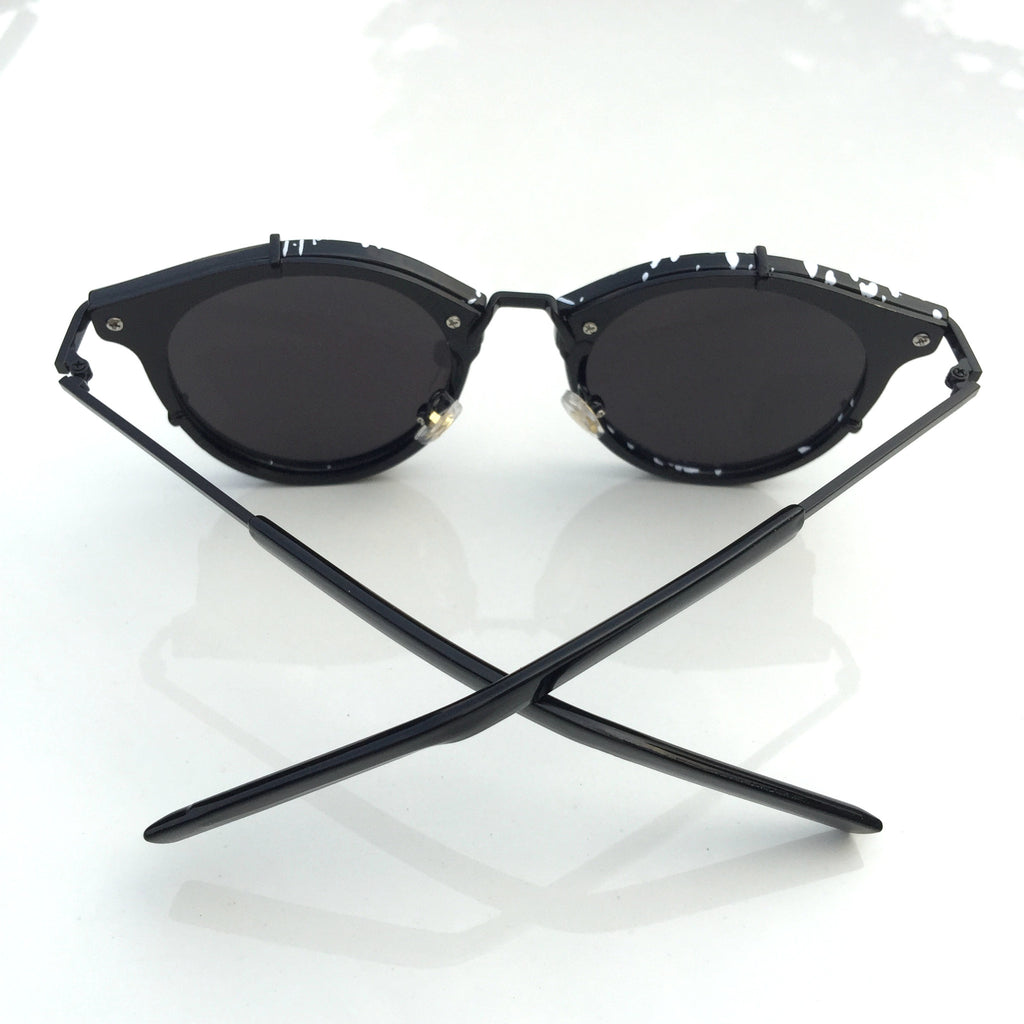 2016 Brand New Black Handmade Steampunk Pilot Sunglasses Shades Sunnies Sun Glasses with White Spots - WowAwesomeStuff  - 4