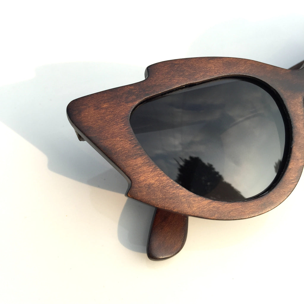 Very Unique Cat Eyes Fashion Wood Sunglasses Shades Sun Glasses - WowAwesomeStuff  - 3