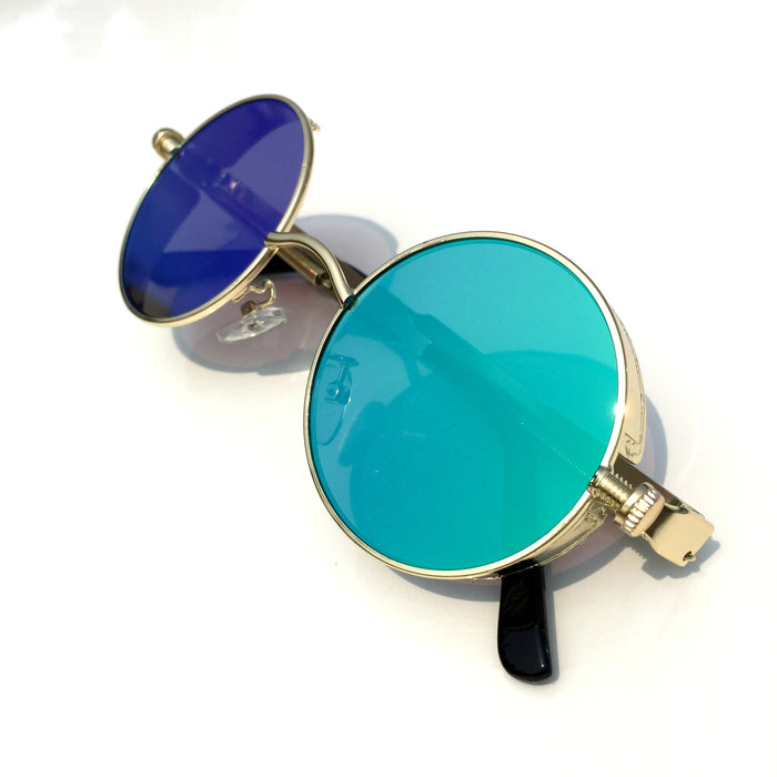 BlueGreen Retro Steampunk Burning Man Round Sunglasses Shades Goggle for Women Men - WowAwesomeStuff  - 1