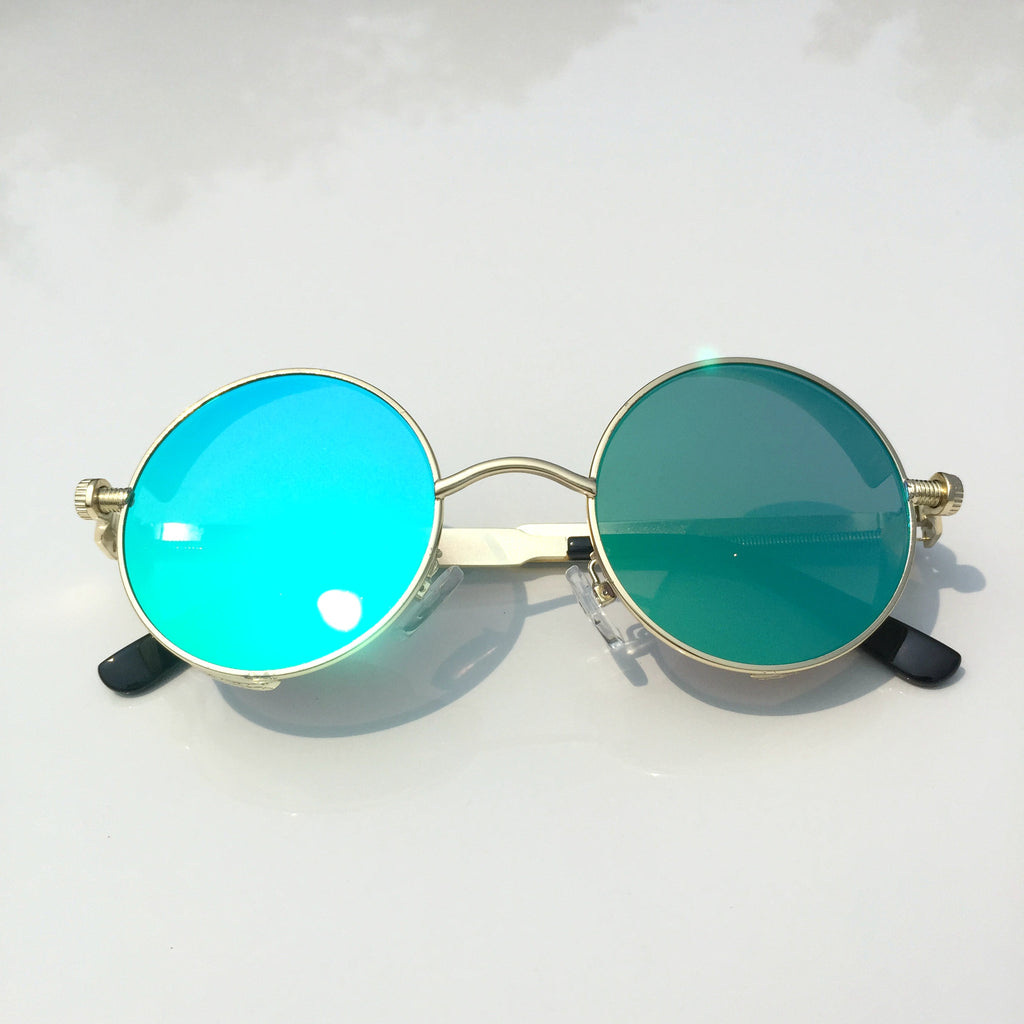 BlueGreen Retro Steampunk Burning Man Round Sunglasses Shades Goggle for Women Men - WowAwesomeStuff  - 2
