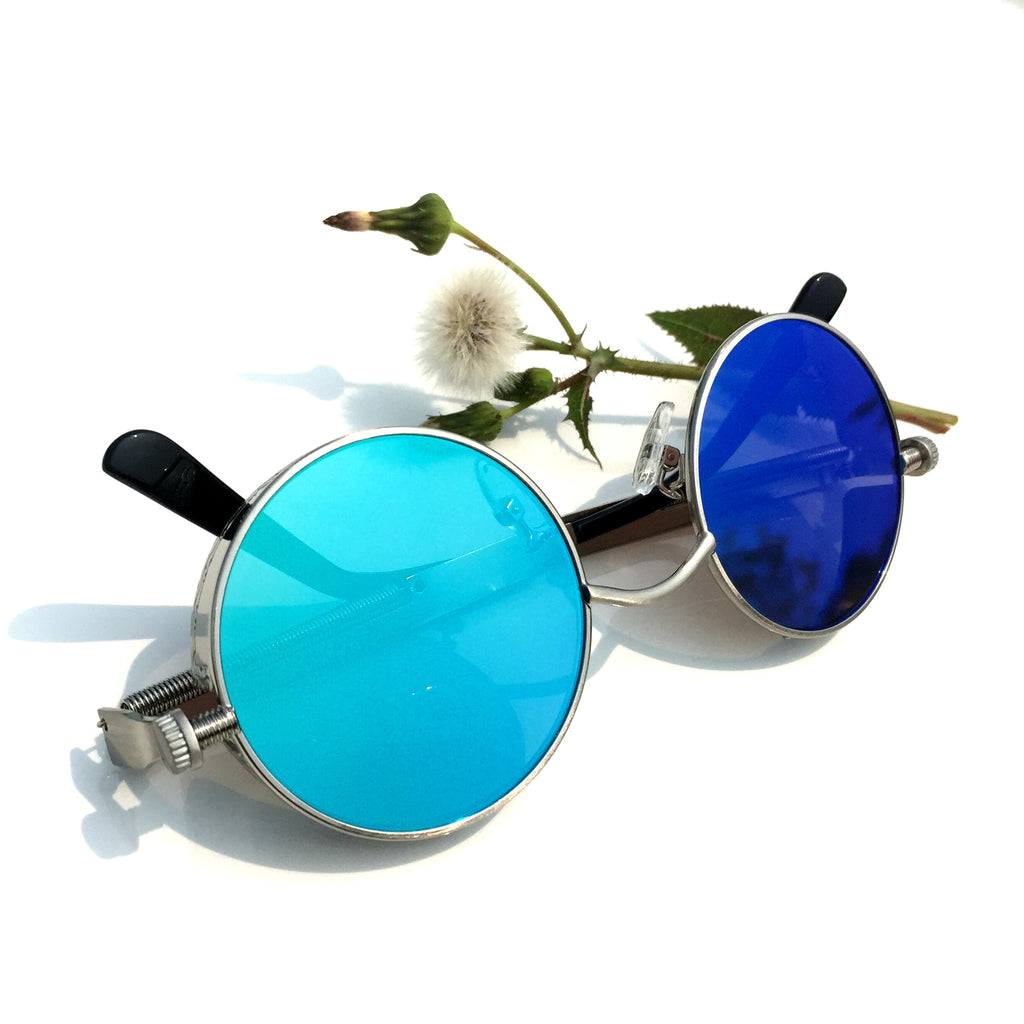 BlueGreen Retro Steampunk Burning Man Round Sunglasses Shades Goggle for Women Men - WowAwesomeStuff  - 5