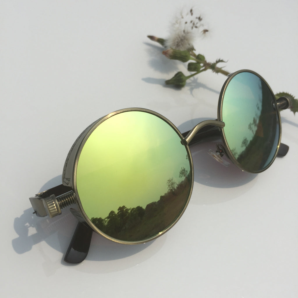 Punk Design for Burning Man Golden Retro Round Goggles Sunglasses Shades Men Women - WowAwesomeStuff  - 2