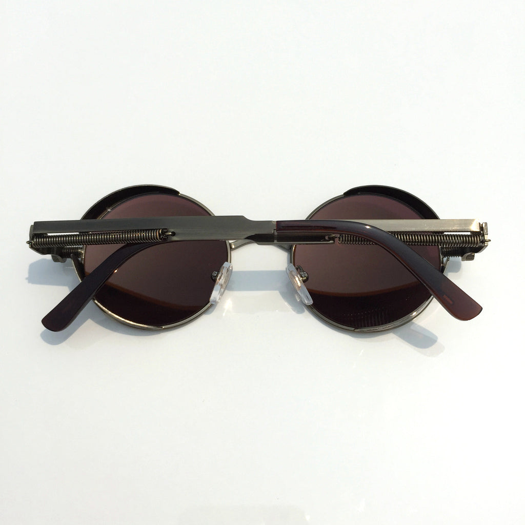 Punk Design for Burning Man Golden Retro Round Goggles Sunglasses Shades Men Women - WowAwesomeStuff  - 3