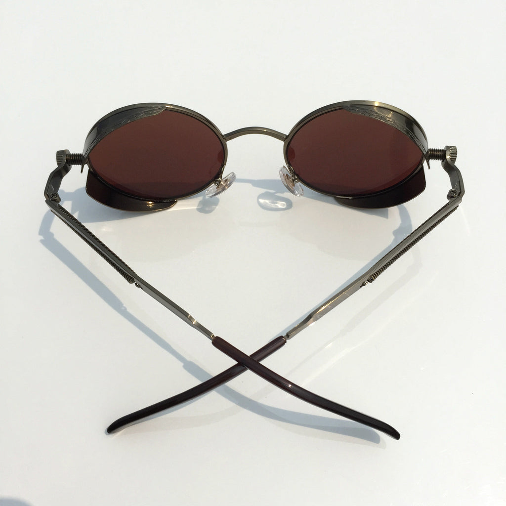 Punk Design for Burning Man Golden Retro Round Goggles Sunglasses Shades Men Women - WowAwesomeStuff  - 4