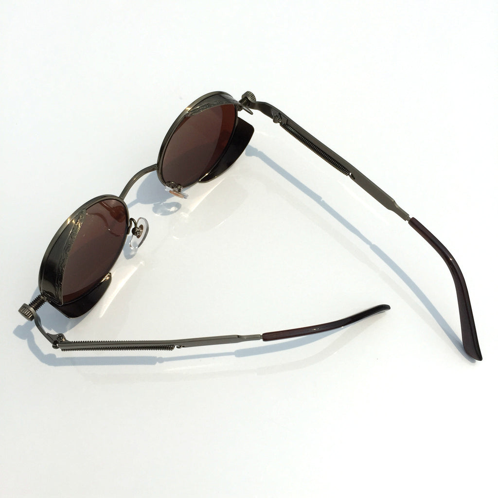 Punk Design for Burning Man Golden Retro Round Goggles Sunglasses Shades Men Women - WowAwesomeStuff  - 5