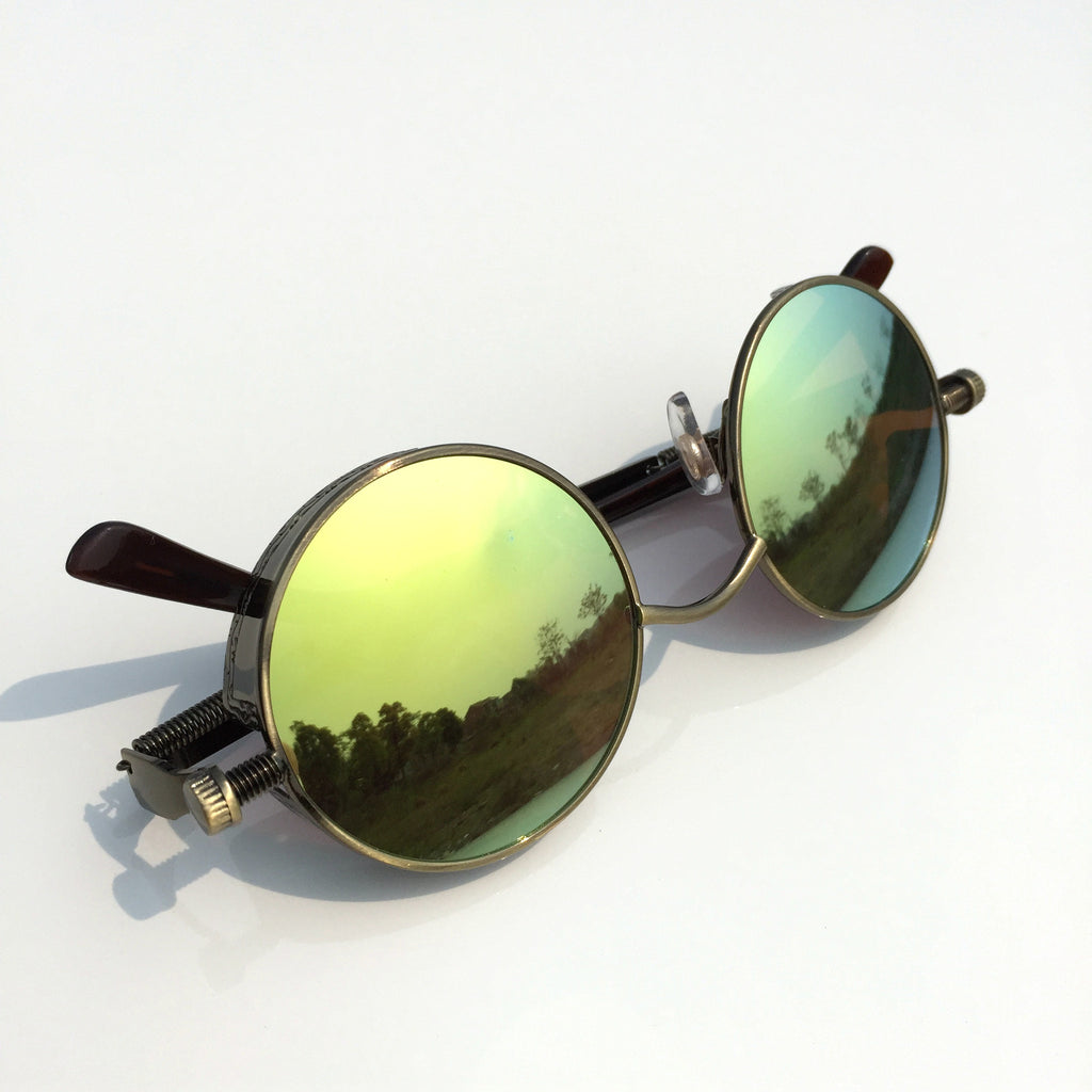 Punk Design for Burning Man Golden Retro Round Goggles Sunglasses Shades Men Women - WowAwesomeStuff  - 6