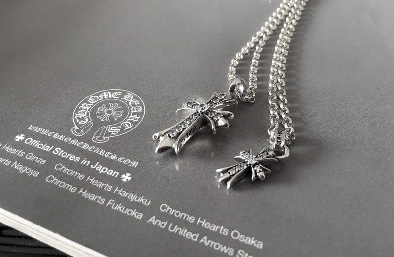 Famous Luxury Brand Japan S925 Retro Punk Chrome Cross Silver Necklace 70401AS