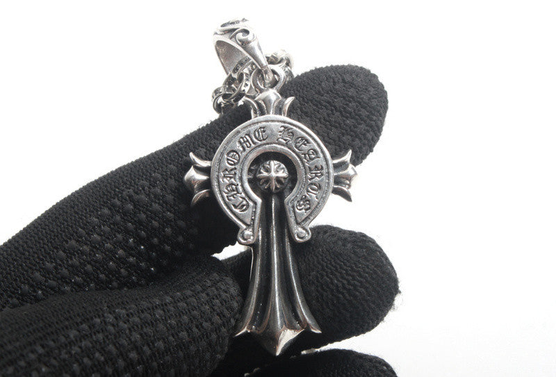 Japan S925 Silver Retro Vintage Punk Chrome Cross Necklace Jewelry 61020A