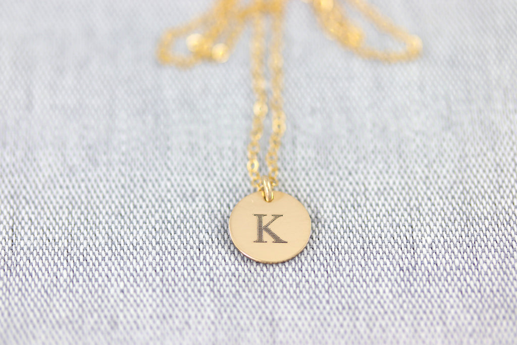 Initial Charm Disc Necklace