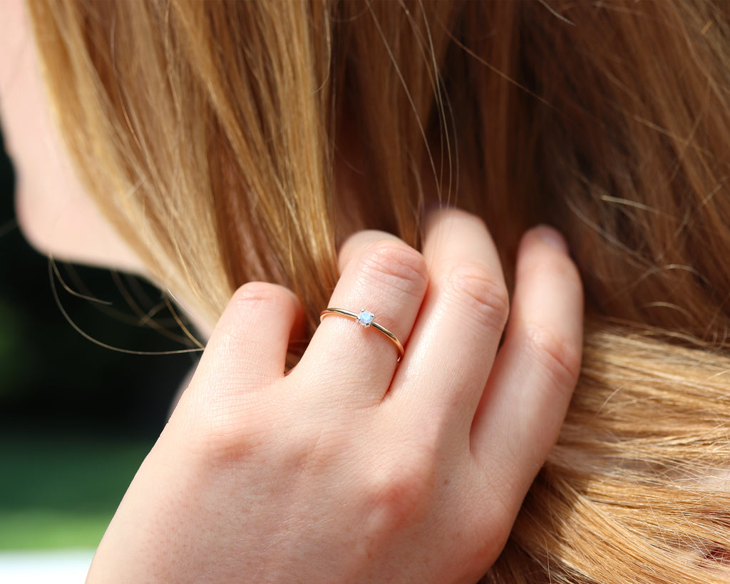 Dainty Moonstone Ring