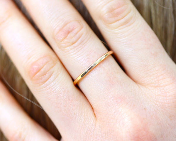 R005 Hammered Stacking Ring Band