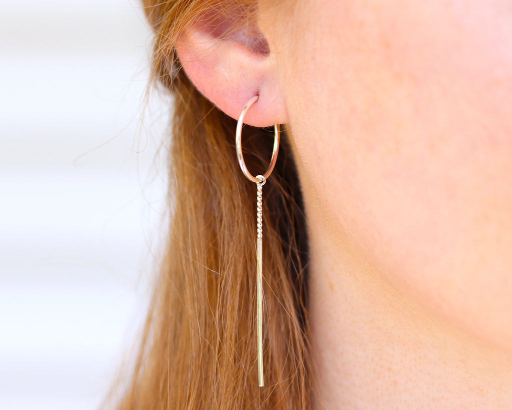E039 Hoop and Stick Earrings