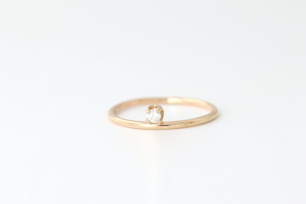 Diamond + 14K Gold Dot Ring