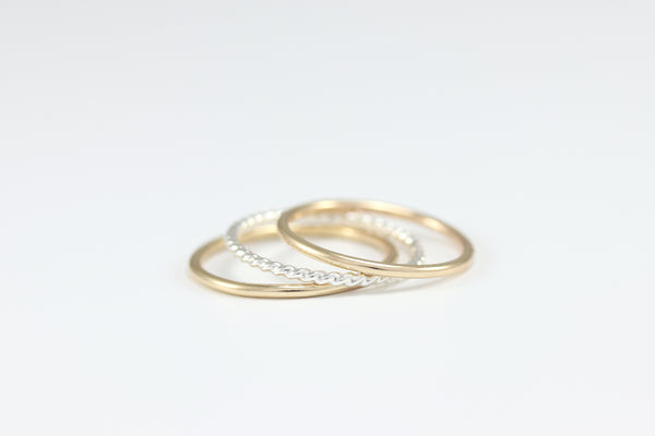 R033 Mixed Metal Stacking Band Set of 3