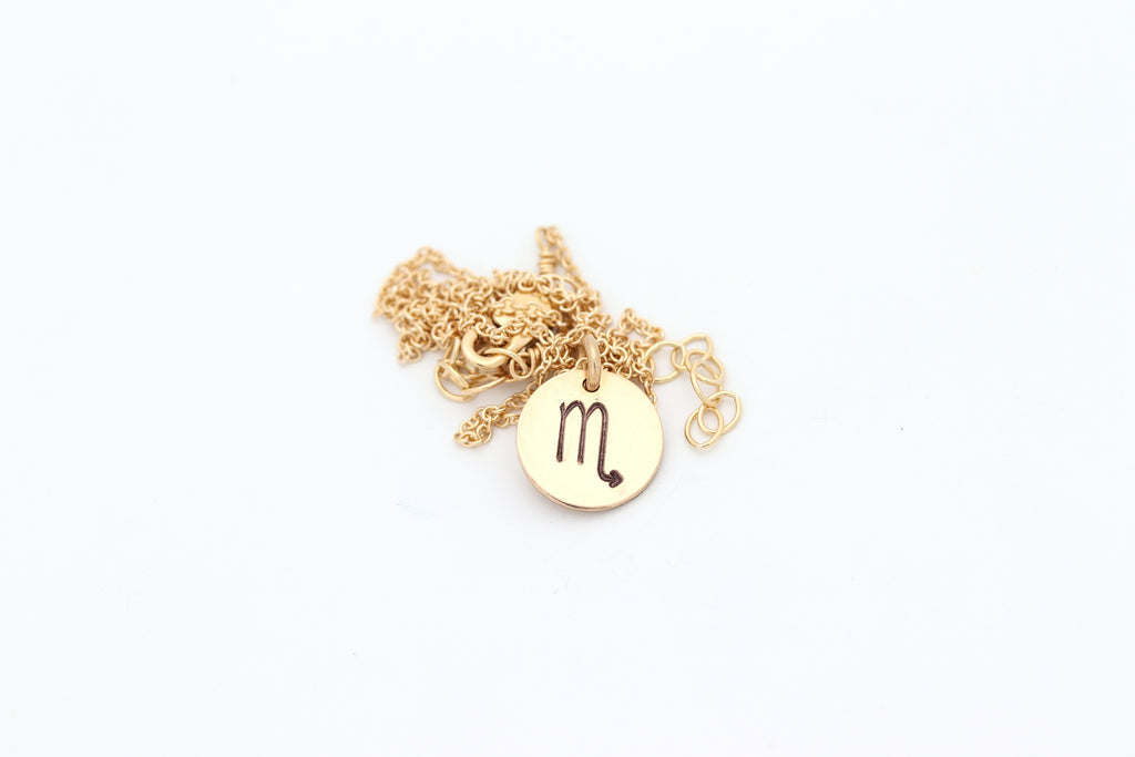 Zodiac Charm Disc Necklace