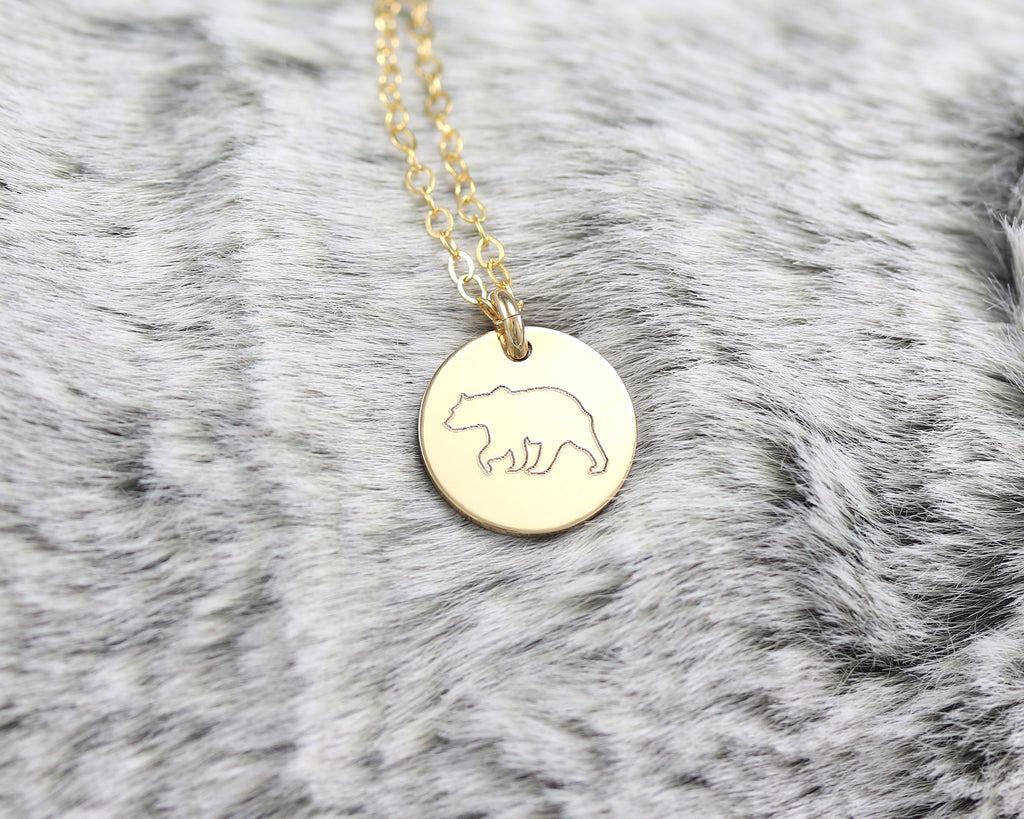 Bear Disc Necklace