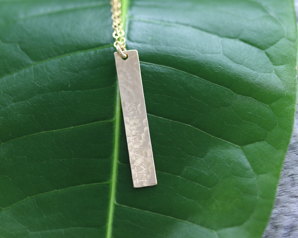 Roman Numeral Vertical Bar Necklace