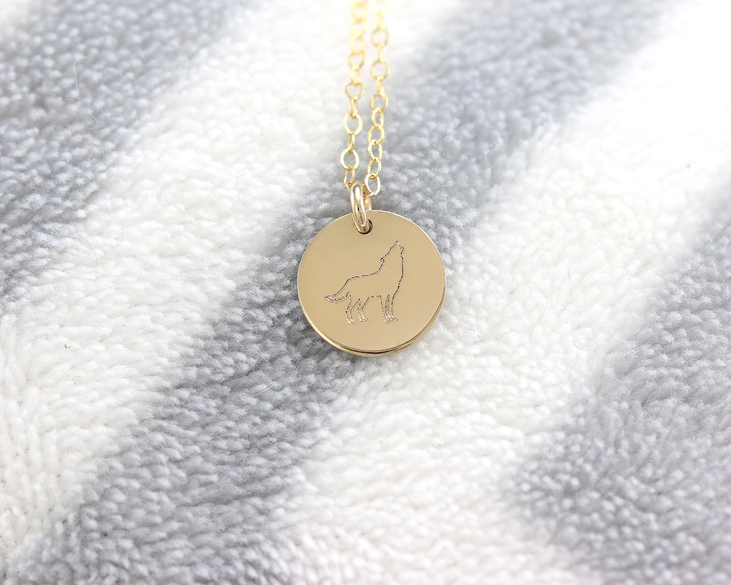Wolf Disc Necklace