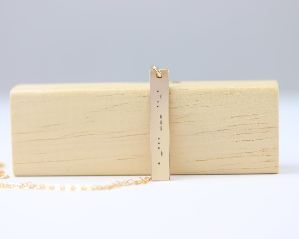 Morse Code Vertical Bar Necklace