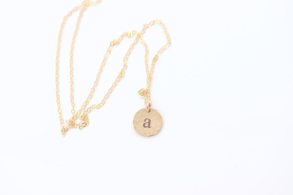 Hammered Initial Charm Disc Necklace