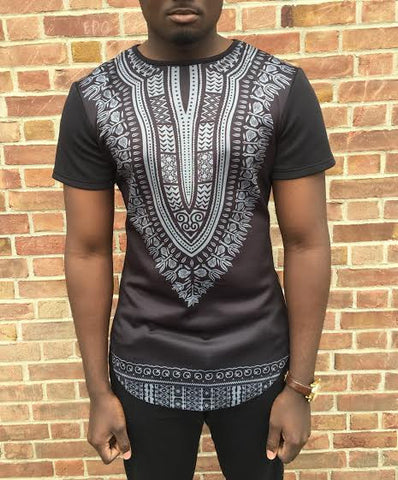 Black Short Sleeve Extend Dashiki Tee