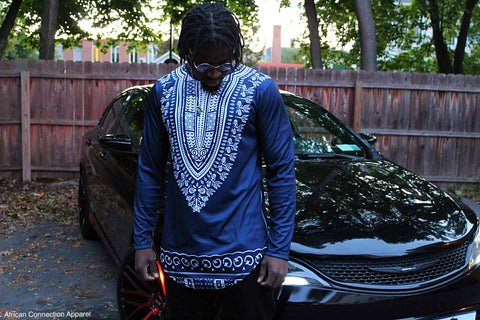 Blue Long Sleeve Extend Dashiki Tee