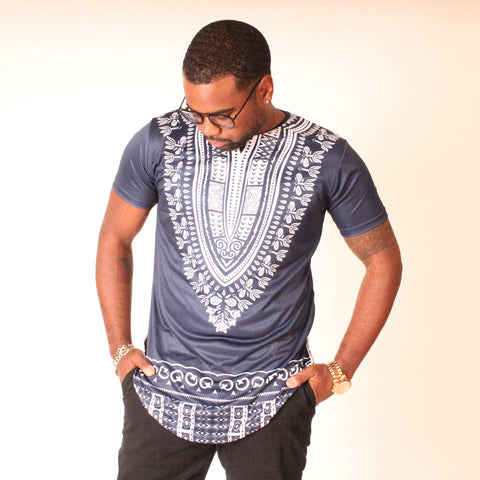Blue Short Sleeve Extend Dashiki Tee