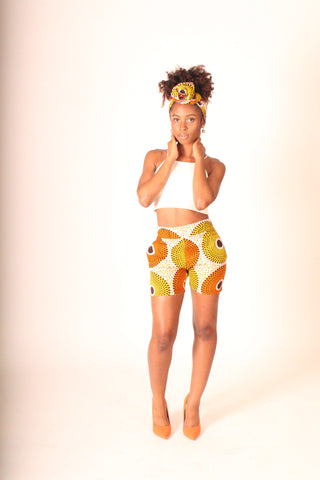 Gold Subra Print High-Waisted Shorts