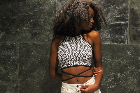 Monochrome Backless Tie Top