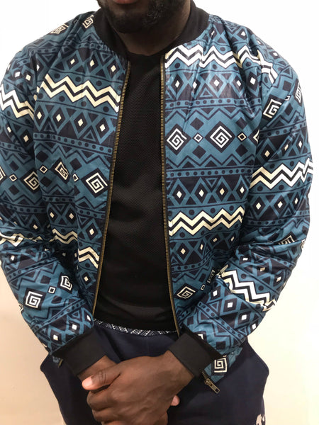 Blue Ankara Bomber Jacket