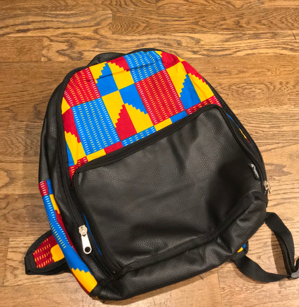 Leather Kente Backpack - Red