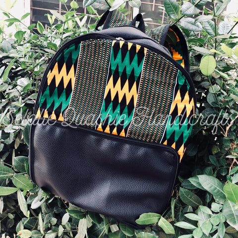 Leather Kente Backpack - Green