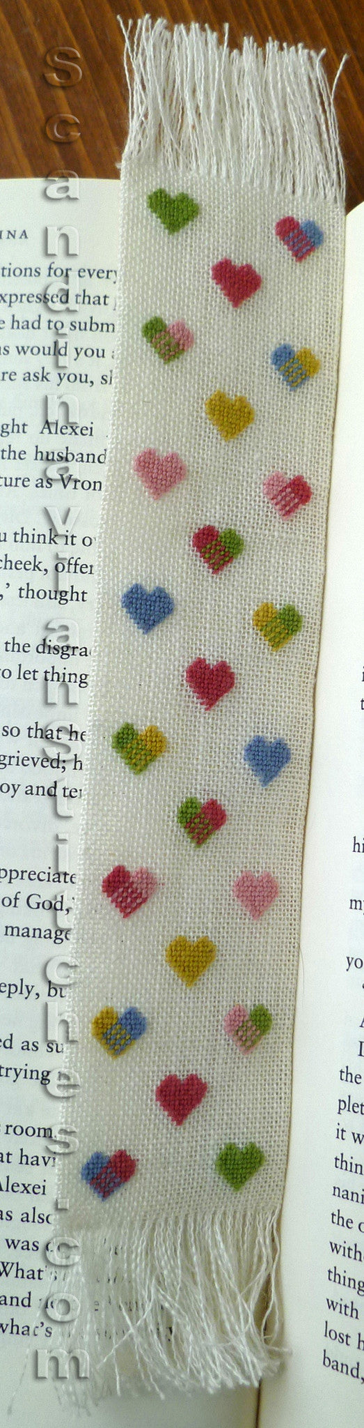 Colored Hearts Bookmark - Petit Point