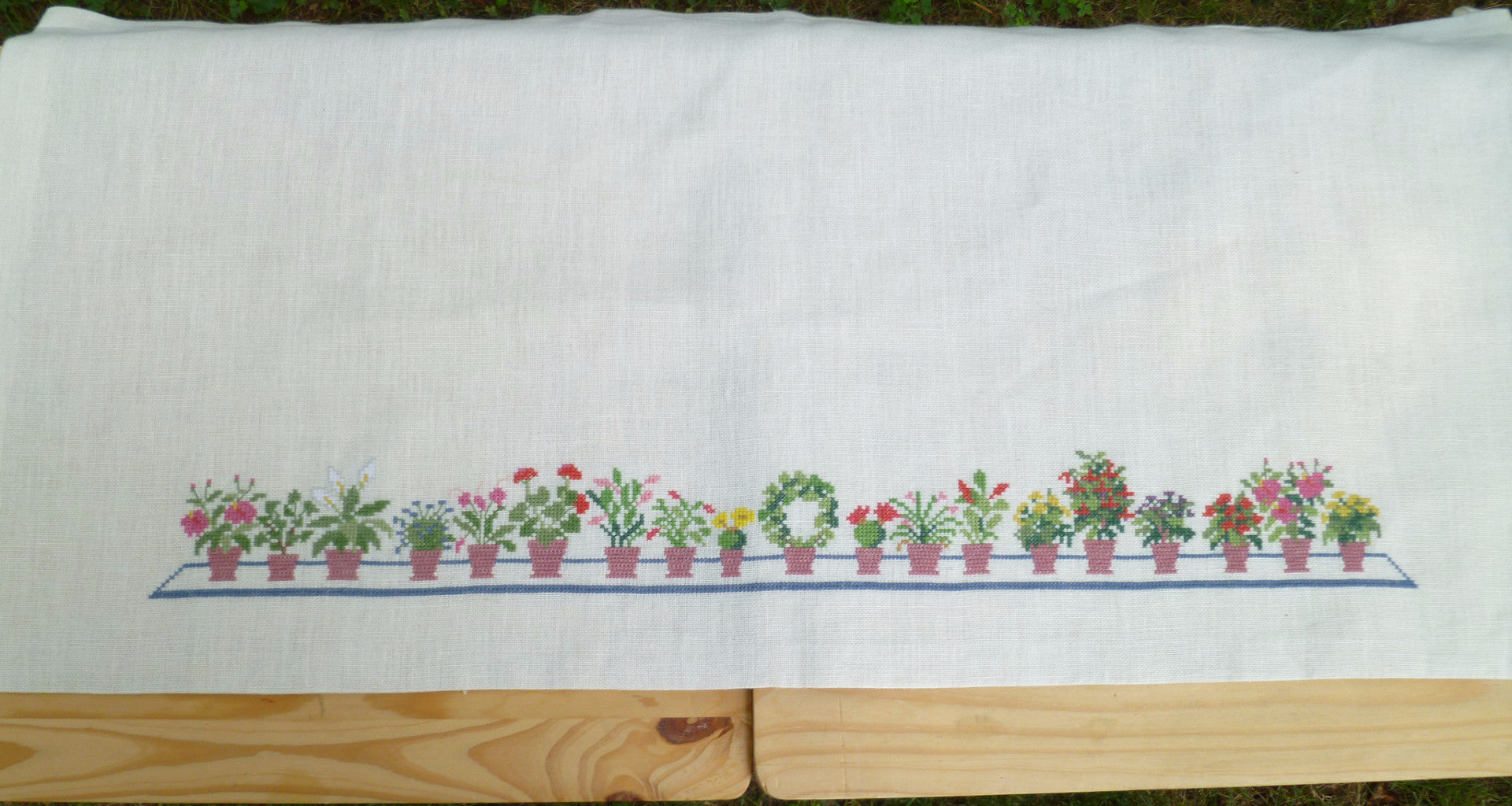 Flower Pots Cafe Curtain, without linen
