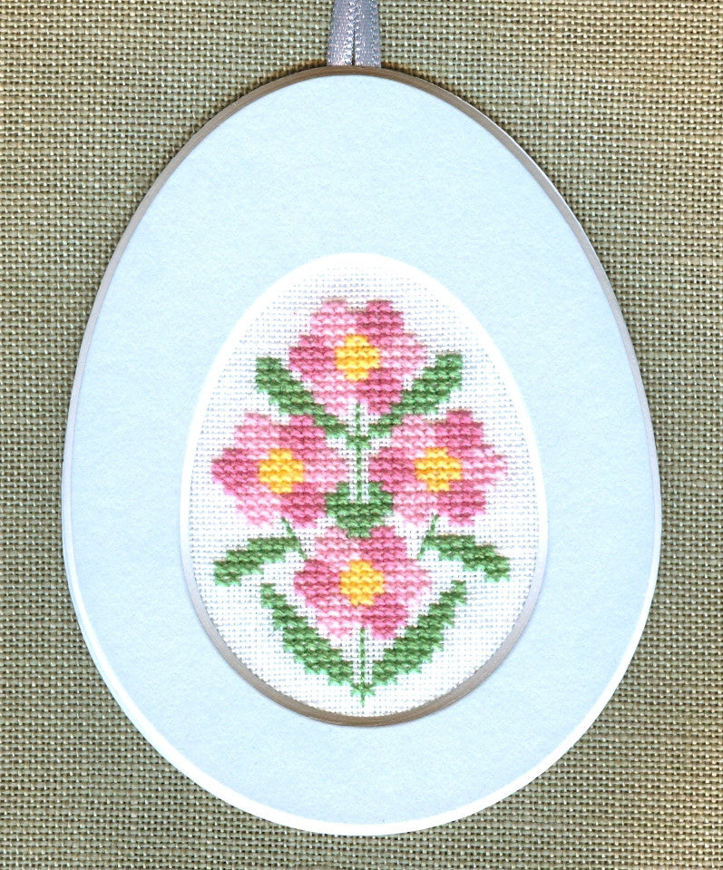 Pink Flowers in Oval Cut Out