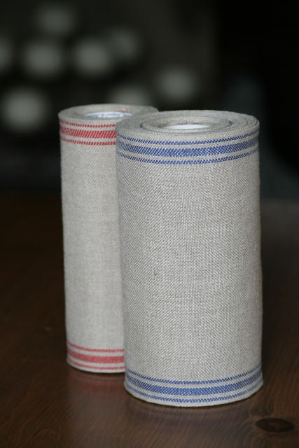Unbleached Linen Banding with Ticking Stripes