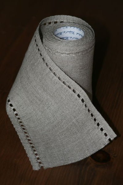 Unbleached Linen Banding with Pulled Thread Edges