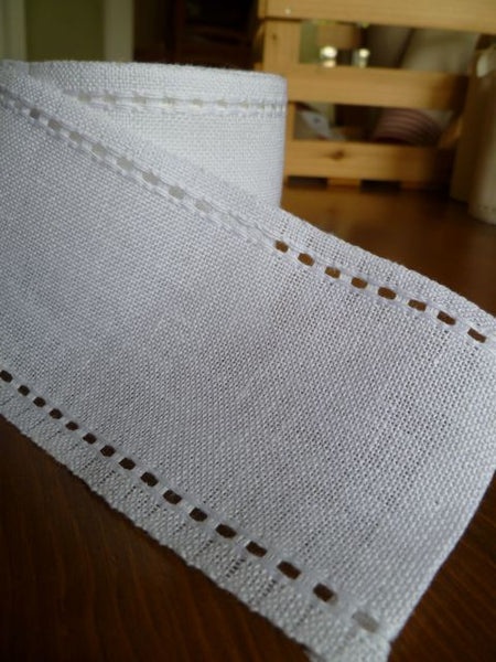 White Banding with Pulled Thread Edges