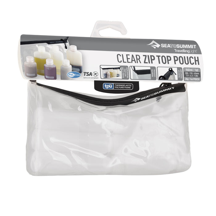 Sea to Summit Traveling Light Clear TPU Zip Pouch & 6 Bottles