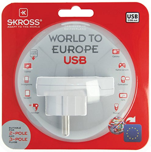 Skross Traveladapter World to Europe USB