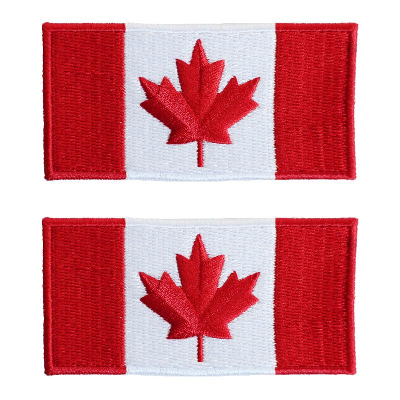 "2- Embroidered Canadian Flag Patches 1"" x 2"" - Jet-Setter.ca"