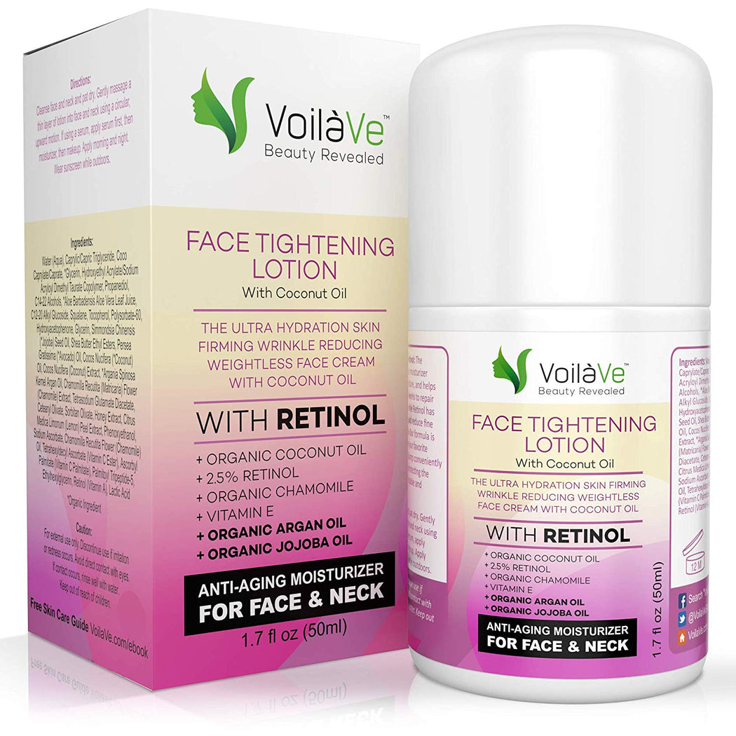 VoilaVe Face Lotion, Retinol Moisturizer for Face, Anti Aging Skin Firming Lotion, Vitamin E Oil, Night Moisturizer, Neck Firming Cream, Organic Honey & Lemon Peel Extracts, Airless Pump, 1.7 fl oz