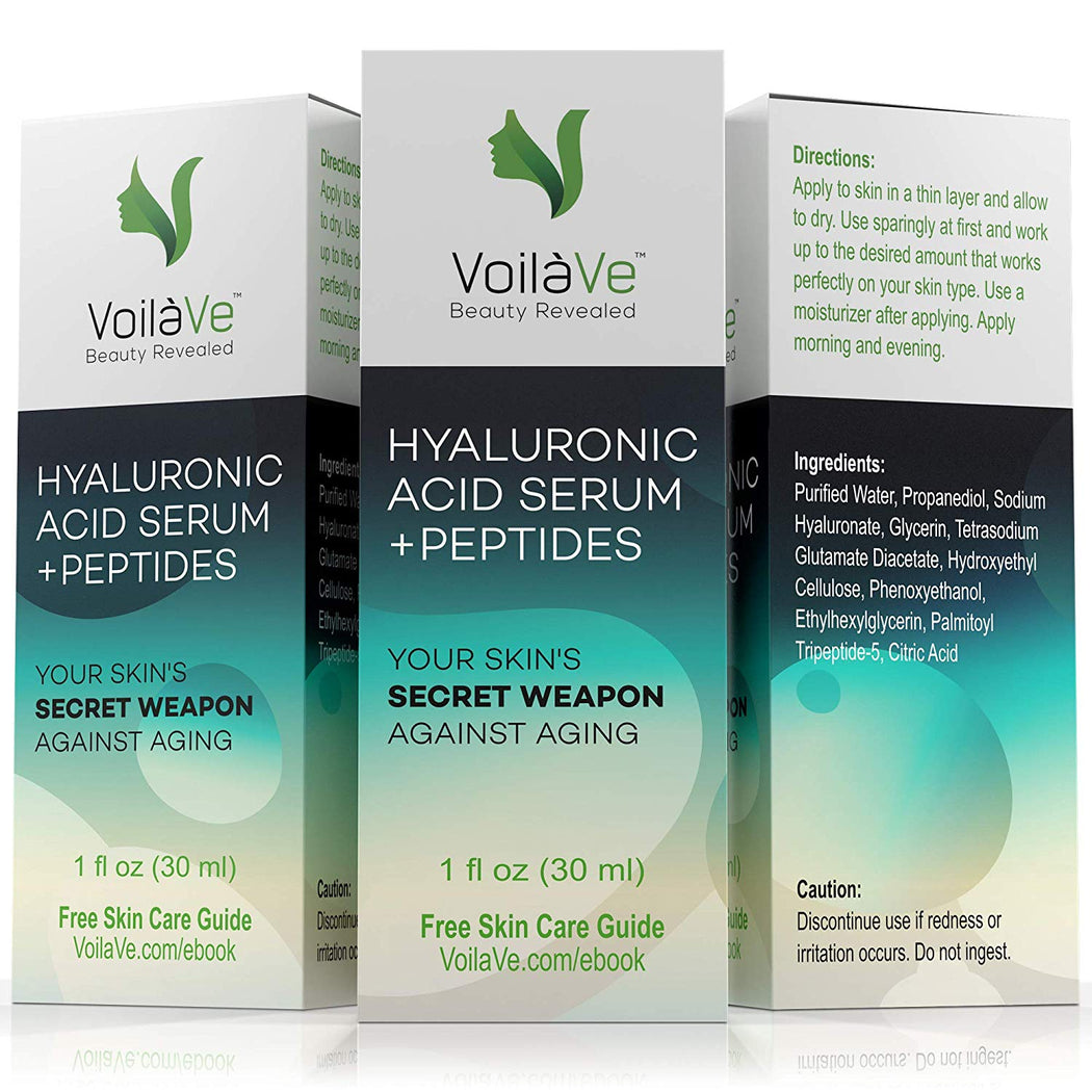VoilaVe Hyaluronic Acid Serum Face Moisturizer, Breakthrough Formula with Vitamin C + Tripeptide-5 Provides Maximum Hydration, Plumps & Softens Skin, Replenishes Cell Moisture, New Pump Top, 1 fl. oz.