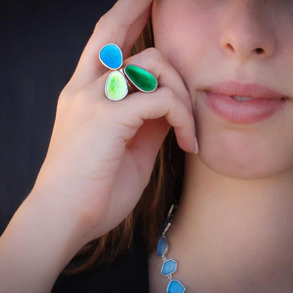 Modern colorful silver & enamel ring