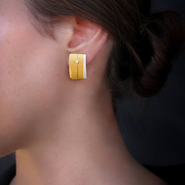 Rectangle modern gold & silver & diamonds earrings