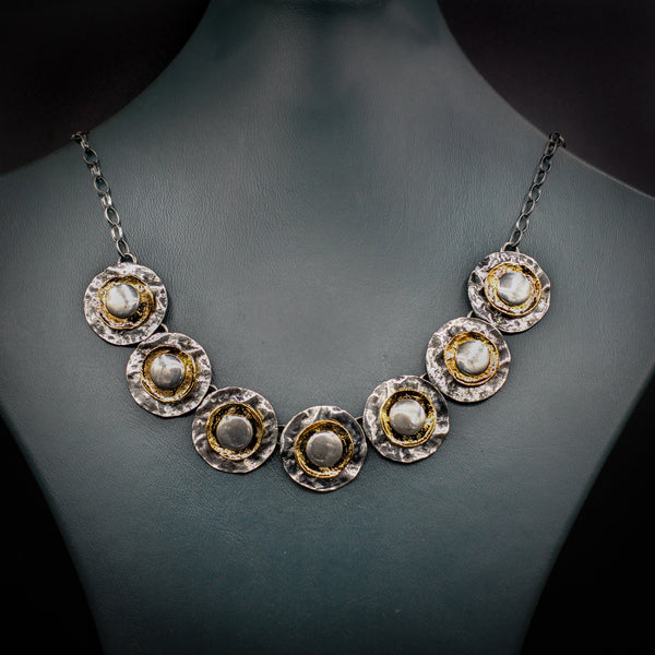 """Shaybot"" collection silver & gold plated necklace"