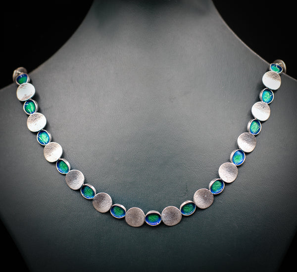 Classic silver & enamel necklace